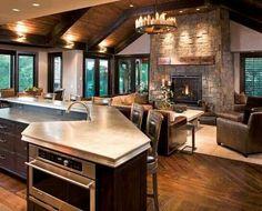 Kitchen overlooking the living room / den area