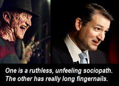 Ted Cruz claims the media is makin' him look like ol' Freddy Krueger. Poor Freddy! | If the f'g shoe fits! | @tedcruz #tcot