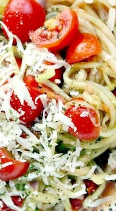 Spiralized Cucumber Noodle Salad with Pecorino Cheese