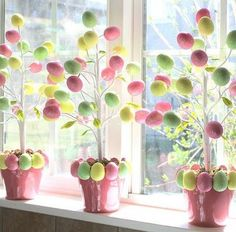 Easter Tree, glue half eggs to rim of terra cotta pot..