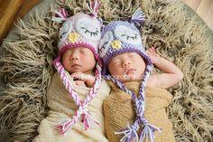 newborn Twin Set Sleepy Owl Earflap Hats