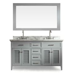 ARIEL Kensington Grey Undermount Double Sink Asian Hardwood Bathroom Vanity with Natural Marble Top (Common: 61-in x 22-in; Actual: 61-in x 22-in)