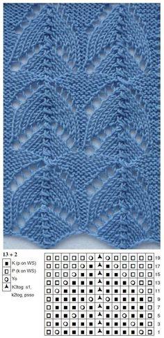 Ajour Crochet Baby Shawl, Crochet Chart, Knit Crochet, Lace Knitting Patterns, Knitting Stitches, Stitch Patterns, Points, Beautiful Patterns, Knitting Patterns
