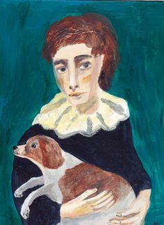 Image of pierrot boy and spaniel by sarah raphael balme