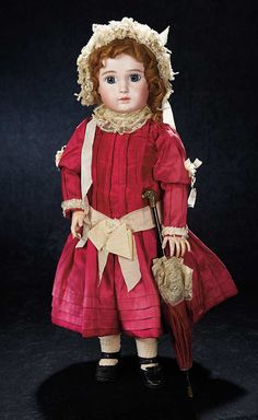 """1889, Lovely French Bisque Bebe by Jules Steiner,Figure A,in Fine Antique Costume, dog head on the parasol, 23"""""""