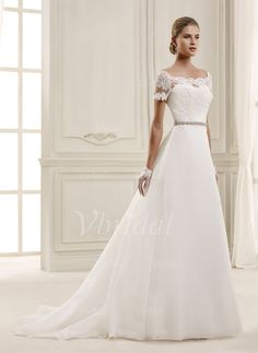 Wedding Dresses - $274.15 - A-Line/Princess Off-the-Shoulder Court Train Organza Lace Wedding Dress With Beading Appliques Lace (0025092127)