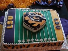 lsu groom's cake- Boy, this sure looks familiar! Creative Desserts, Creative Cakes, Cupcake Cookies, Cupcakes, Cakes For Boys, Let Them Eat Cake, Our Wedding, Wedding Ideas, Cake Designs