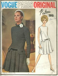 Vogue Paris Original 2013; 1960s; Jean Patou - Misses' One-Piece Dress. Semi-fitted low-waisted...