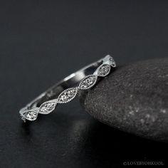 White Gold Double Diamond Leaf Milgrain Wedding Band, Vintage Wedding Bands, by lovebyohkuol