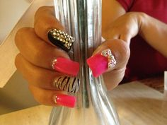 Pink black and silver acrylic nails by jozy