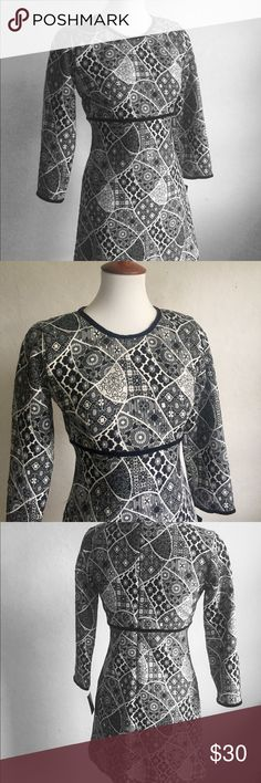 Zara Geometric Floral Dress 6 Geometric black and white floral dress, black velvet trim along the neckline, sleeves and at the empire waist, dimensional of fabric, lined, back zipper.   17 inches across the bust  31 1/2 inches in length  🌷Thank you for visiting my closet! Zara Dresses Long Sleeve