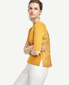In covetable colors and modern silhouettes, eyelet separates make our cut for spring. Back yoke. Jersey front, sleeves and back yoke. Eyelet woven back with box pleats. Spring Summer Fashion, Spring Outfits, Spring 2016, Floral Pencil Skirt, Weekend Outfit, Celebrity Outfits, Cute Tops, Casual Chic, Ann Taylor