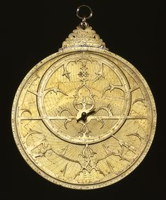 Astrolabe, brass, engraved and inlaid with silver  Iran. An astrolabe is a kind of ancient computer that simulates the rotation of the heavenly bodies in a plane projection on the instrument. It is used at a given latitude to solve various astronomical and astrological problems and for navigation and surveying. It can also determine time, both day and night, and the date, month, and season. It was