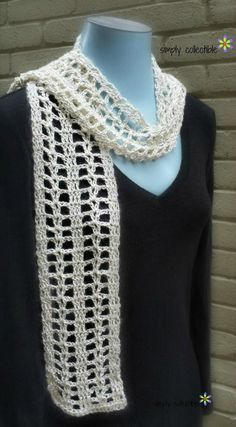Coraline's Summer Crush Scarf is a gorgeous and lightweight scarf that can be worn to accessorize all year long. This lovely, lacy scarf makes a quick n easy, one-skein, road trip project. Wouldn't it be the perfect gift for Mother's Day or graduatio Crochet Scarves, Crochet Shawl, Crochet Clothes, Crochet Stitches, Knit Crochet, Crocheted Scarf, Crochet Designs, Crochet Patterns, Scarf Patterns