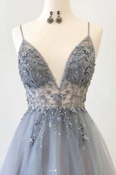 Sparkly Prom Dresses Aline Spaghetti Straps Long Grey Prom Dress Fashion Evening Dress see through grey gorgeous fine straps dress prom dresses long,prom dresses cheap,beautiful prom dresses,prom dresses prom dresses,prom dresses simple Grey Prom Dress, Sparkly Prom Dresses, Hoco Dresses, Tulle Prom Dress, Pretty Dresses, Dress Long, Elegant Dresses, Sexy Dresses, Summer Dresses