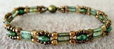 Linda's Crafty Inspirations: Bracelet of the Day: Trestle Bands - Mossy Green