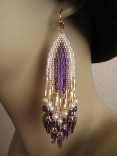 Seed Bead Earrings  Purple by pattimacs on Etsy, $24.00