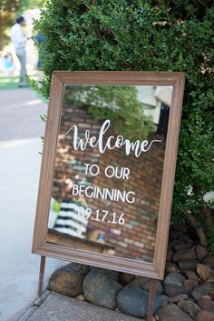 In love with this mirror welcome wedding sign at this stunning wedding!