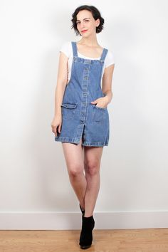 Vintage 90s Dress Denim Overalls Dress Dungarees Blue Jean Jumper 1990s Dress Soft Grunge Dress Pinafore Overall Mini Dress S Small M Medium by ShopTwitchVintage  #1990s #90s #soft #grunge #softgrunge #overalls #denim #jumper #minidress #dungarees #etsy #vintage