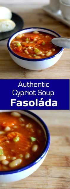is a traditional Greek and Cypriot soup with white beans, olive oil and vegetables.Fasolada is a traditional Greek and Cypriot soup with white beans, olive oil and vegetables. Greek Recipes, Soup Recipes, Vegetarian Recipes, Cooking Recipes, Healthy Recipes, Cooking Rice, Vegan Soups, Chili Recipes, Diet Recipes