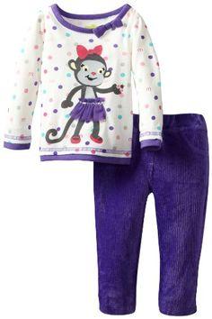 Watch Me Grow by Sesame Street Babygirls Newborn 2 Piece Polka Dot Monkey Pant Set Purple 36 Months * Visit the image link more details.