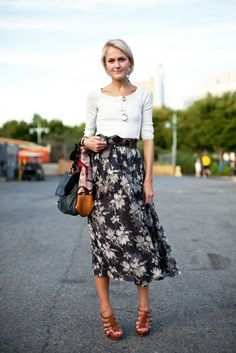 Long skirt. Simple shirt. - has to be done just right to avoid looking middle-aged.
