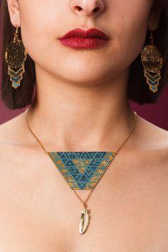 Necklace PALOMA blue and gold by ArtisticBracelet on Etsy