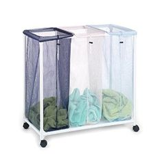 "Amazon.com: Homz Triple Clothing Sorter with Wheels, 3 Removable Bags, 31"" x 16"" x 30.5"" (4549010): Home & Kitchen"