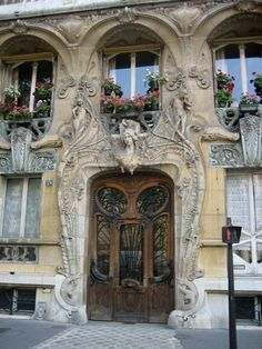 "♅ 29 Avenue Rapp (Paris, France) ♅  This bldg. was designed by French architect Jules Aimé Lavirotte around 1900. His flamboyant work won him the ""Concours de Façades de la Ville de Paris"" (Facades Contest of the City of Paris) at least twice, one being for this bldg. w/ the highly exotic door frame designed by the sculptor Jean-Baptiste Larrive."