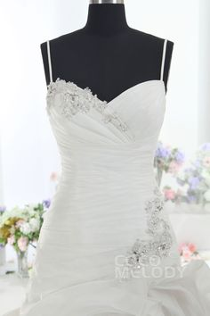 Trendy A-Line Spaghetti Strap Dropped Train Tulle Ivory Sleeveless Lace Up-Corset Wedding Dress with Beading LD1099 #weddingdress #cocomelody