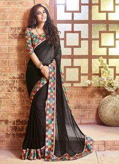 Black Saree With Nice-looking Plain Pallu