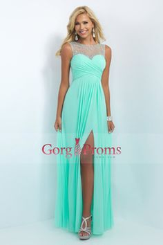 2016 Scoop A Line Prom Dresses Chiffon With Beads And Ruffles Floor Length US$ 169.99 GPP9JP47T7 - gorgproms.com for mobile