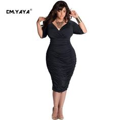 CMYAYA 2016 New Women Sexy Summer Black Half Sleeve Deep V-Neck Draped Plus Size 3XL Bodycon Knee-Length Dresses at our web shop http://www.aliexpress.com/store/536244