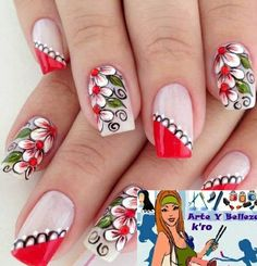 Fabulous Nails, Perfect Nails, Gorgeous Nails, Pretty Nails, Fingernail Designs, Cute Nail Designs, Flower Nail Art, Beautiful Nail Art, Creative Nails