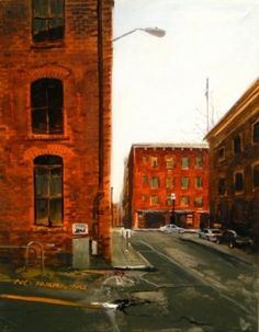 Seattle City Street urban landscape, oil painting, original painting by artist Robin Weiss | DailyPainters.com