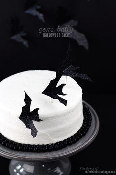 """Gone Batty"" Halloween Cake | TheCelebrationShoppe.com #halloweencake #bats #blackwhite"