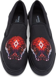 Marcelo Burlon County of Milan Black Canvas Cobra Print Skate Sneakers  Kawaii Shoes c450a23eb