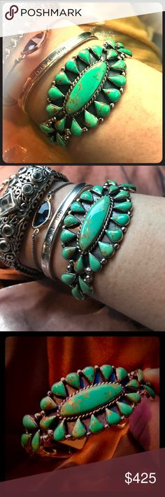 Zuni Native American Southwestern Green Turquoise Brand New Native American mined and Hand Crafted Green Turquoise GORGEOUS adjustable bracelet. ONE OF A KIND. I think it may be Sleeping Beauty because it  almost matches mine  from there perfectly, the style and craftsmanship... this is something you'll treasure forever and I really want to keep it but I can't do please pease PLEASE TAKE IT FROM ME QUICKLY SO I can not agonize over it!! Putting SPELL so you ladies have a chance to grab this…