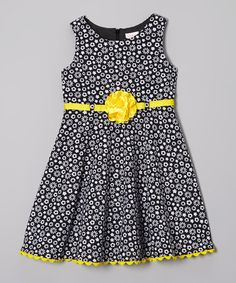 Loving this Youngland Black & Yellow Daisy Dress - Infant, Toddler & Girls on Newborn Girl Dresses, Little Dresses, Little Girl Dresses, Girls Dresses, Frocks For Girls, Kids Frocks, African Dresses For Kids, Black Kids Fashion, Toddler Dress