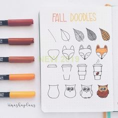 Working on bullet journal doodles can help you relieve stress, relax and improve productivity levels. Have fun adding these cute doodles to your bullet journal notebook! Simple Doodles, Cute Doodles, Bullet Bullet, Bullet Journal Doodles, Halloween Doodle, Fall Halloween, Animal Doodles, Easy Animals, Cute Paintings
