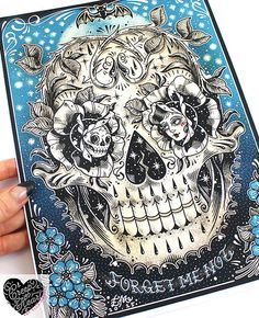 Hey, I found this really awesome Etsy listing at https://www.etsy.com/listing/227471838/forget-me-not-skull-archival-tattoo