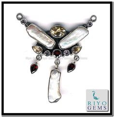 Mother of Pearl Silver Necklace www.riyogems.com
