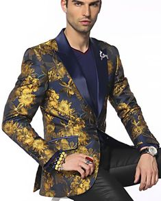 Look Different and unique with Angelino brand men's single breasted Austin gold/ navy fashion blazer.