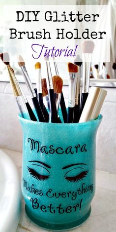 Makeup Glitter Brush Holder DIY Tutorial ~ So Easy and Fun!- Makeup Glitter Brush Holder DIY Tutorial ~ So Easy and Fun! Step by Step DIY glitter brush holder! An easy and frugal gift or cute way to add character to your bathroom! Diy Makeup Organizer, Diy Makeup Storage, Storage Ideas, Storage Hacks, Organization Ideas, Bedroom Organization, Diy Storage, Diy Makeup Brush, Makeup Brush Holders