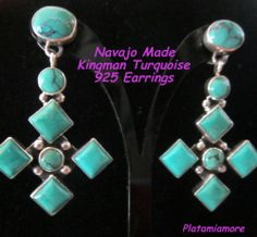 Navajo Made Kingman Turquoise CROSS 925 Earrings Retail:$325