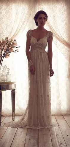 A-line V-back Lace V-neck Brush Train Wedding Dress #weddingdress  #bride #gown