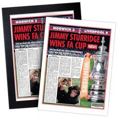It's the FA Cup Final. Your chosen name is playing for their favourite side. And he or she has just scored the winner. Now's their chance to read all the coverage as reported in the Daily Mirror. #fulham #fulhamfc #fulhamfcgifts #footballgifts #football #giftsforhim #giftsforteens #cottagers