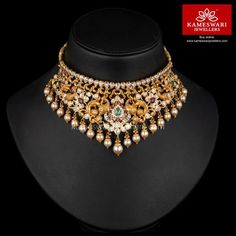 Traditional gold necklaces for women from the house of Kameswari. Shop for antique gold necklace, exquisite diamond necklace and more! Gold Chocker Necklace, Choker Necklace Online, Sterling Silver Earrings Studs, Chokers, Gold Choker, Bridal Necklace, Stone Necklace, Gold Wedding Jewelry, Gold Jewelry