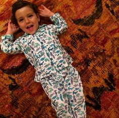 Our favorite little model is ready for bedtime in our Heatwave baby pajamas. #ecru #ecruonline #blockprint #malmal #cotton #pajamas #children #takemetothetropics #ss2014 #heatwave