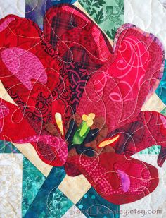 Art Quilt Pattern  PDF  Tulip Applique Quilt by JaneLKakaley, $10.00